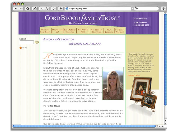 Cord Blood Family Trust web site
