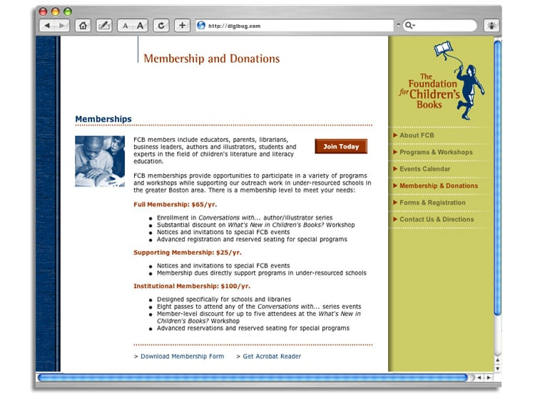 Foundation for Children's Books web site